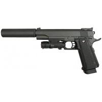 Пистолет GALAXY G.6A Air Soft к.6мм (пружин.) с глушит. и ЛЦУ (Colt 1911)