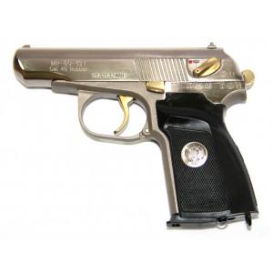 Травматический пистолет МР-80-13Т никель, нитрид титана, герб